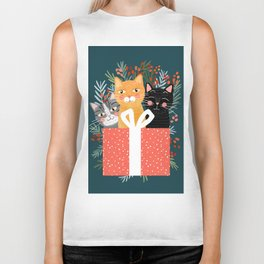 Cats cute christmas xmas tree holiday funny cat art cat lady gift unique pet gifts Biker Tank