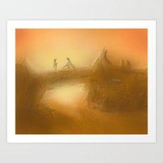 duel at dusk Art Print