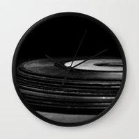vinyl Wall Clocks featuring vinyl by Jessica Morelli