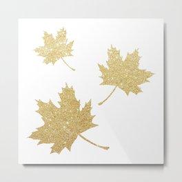 Falling Leaves | Gold Glitter Metal Print