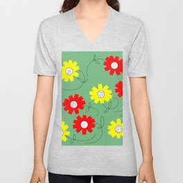 red and yellow coreopsis Unisex V-Neck