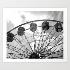 Black and White Carnival Ferris Wheel - Carnival Rides Black and White Prints Home Decor Art Print