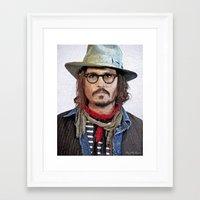 johnny depp Framed Art Prints featuring Johnny Depp by Miguel A. Martin