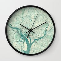 washington Wall Clocks featuring Washington Map Blue Vintage by City Art Posters