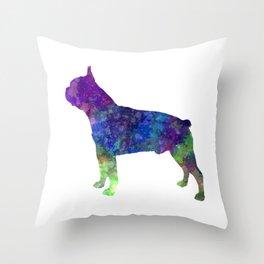 Boston Terrier 02 in watercolor Throw Pillow