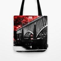 pittsburgh Tote Bags featuring Pittsburgh Bridge by Layne Andrews