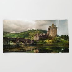 Landscape with an old castle Beach Towel