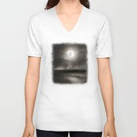 the moon V-neck T-shirts featuring Moon by Viviana Gonzalez