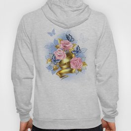 Pink Roses with Gold Ribbon Hoody