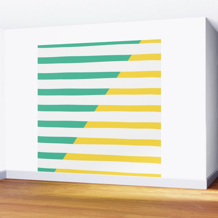 Beach Stripes Green Yellow Wall Mural