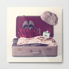 Vintage Journey Suitcase (Hers) (Retro and Vintage Still Life Photography)  Metal Print