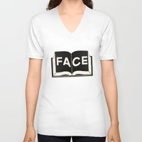 facebook V-neck T-shirts featuring FaceBook by Roland Lefox