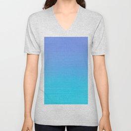 Ocean Blue Modern Trendy Ombre Color Change Design Unisex V-Neck