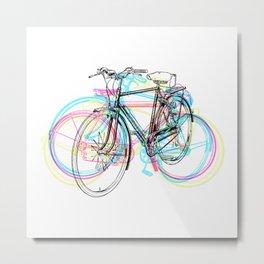 Artistic modern pink teal abstract bicycles art Metal Print