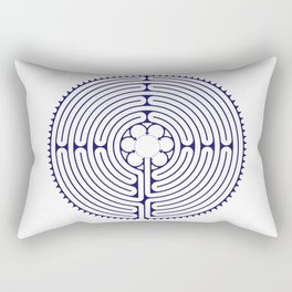 Cathedral of Our Lady of Chartres Labyrinth - Blue Rectangular Pillow
