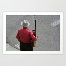 Guitarist Crossing the Street Art Print