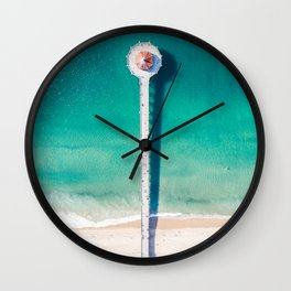 Aerial of Manhattan Beach pier Wall Clock