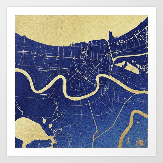 New Orleans Blue and Gold Map Art Print
