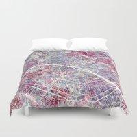 paris map Duvet Covers featuring Paris Map by MapMapMaps.Watercolors