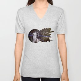 Blue skies and buildings Unisex V-Neck