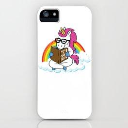Unicorn Book Reading Gift School Unicorns Believe in Yourself iPhone Case