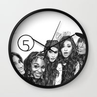 fifth harmony Wall Clocks featuring Fifth Harmony Group Drawing by Emilia Apreda