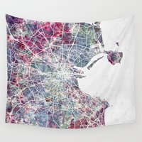 dublin Wall Tapestries featuring Dublin by MapMapMaps.Watercolors