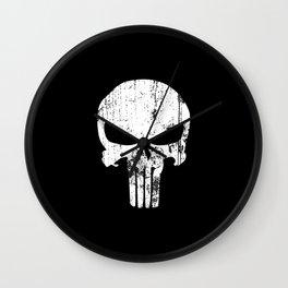 The Punisher Logo Black Background Wall Clock