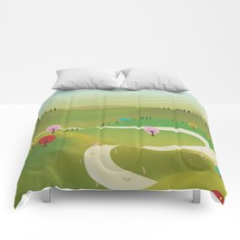 Cartoon hilly landscape Comforters