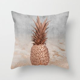 Pineapple in Glitter Marble Rose Gold And Concrete Throw Pillow