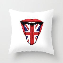 UK Flag Tongue Lips Great Britian United Kingdom Throw Pillow