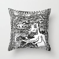 hell Throw Pillows featuring Hell by Guice Mann