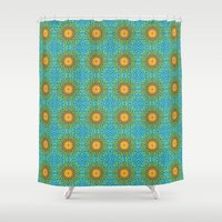 yellow pattern Shower Curtains featuring Yellow Salsify Flower Pattern by Peter Gross