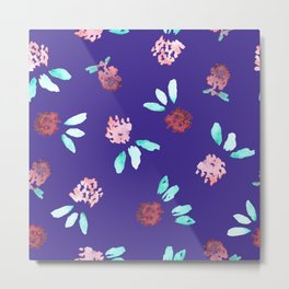 Clover Flowers on Purple Metal Print