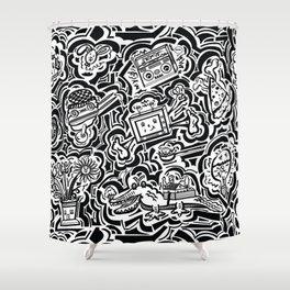 All Over - Black & White Print Shower Curtain