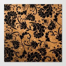 Vintage black faux gold glitter floral damask pattern Canvas Print