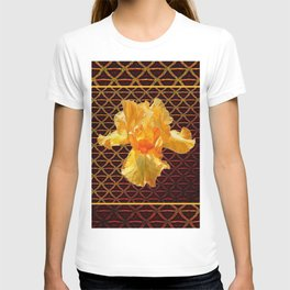 COFFEE BROWN ART PATTERN GOLDEN BEARDED IRIS T-shirt