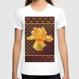 COFFEE BROWN ART PATTERN GOLDEN BEARDED IRIS T-shirt