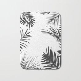 Black And White Palm Leaves Bath Mat