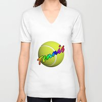 tennis V-neck T-shirts featuring Tennis by Jimbob1979