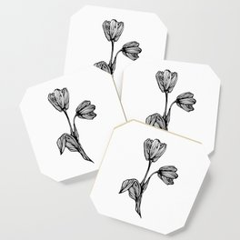 black and white flower drawing Coaster