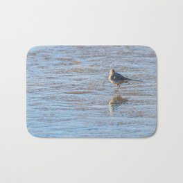 White Wagtail, Cute little bird (Motacilla alba) on ice, frozen pond winter Bath Mat