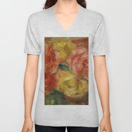 "Auguste Renoir ""Nature Morte Aux Roses (Still life with roses)"" Unisex V-Neck"