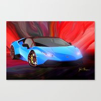 lamborghini Canvas Prints featuring Lamborghini Huracán by JT Digital Art