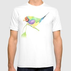 lady gouldian finch White MEDIUM Mens Fitted Tee