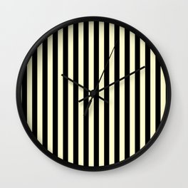 Cream Yellow and Black Vertical Stripes Wall Clock