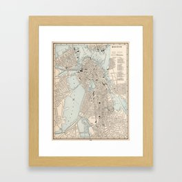 Vintage Map of Boston MA (1893) Framed Art Print