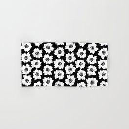 Linocut botanical nature floral flower art nursery black and white decor newborn Hand & Bath Towel