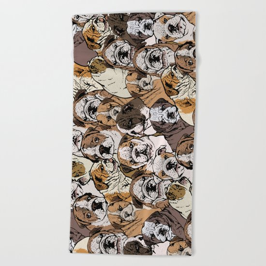 Social English Bulldog Beach Towel