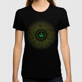 Magic plant. Marijuana leaf. mandala T-shirt